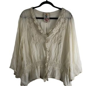 Johnny Was Blouse Cream Size XXL
